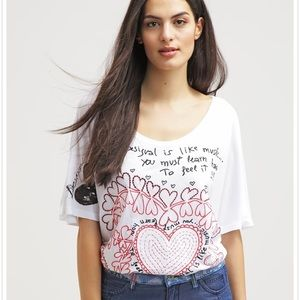 Desigual Laila print white t shirt. L
